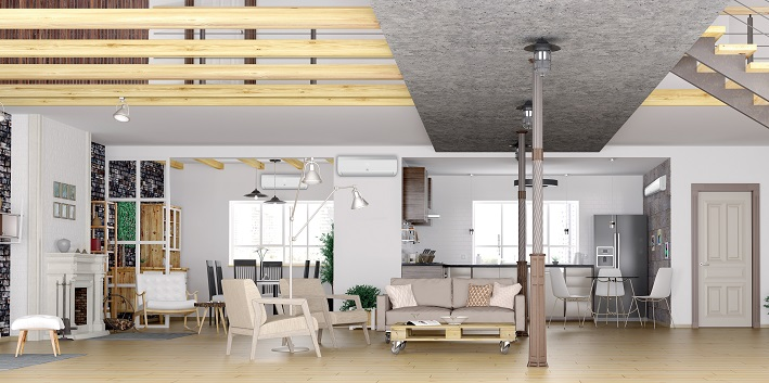 Panorama of loft apartment interior 3d rendering